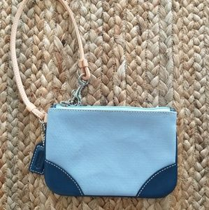 Coach light blue fabric wristlet